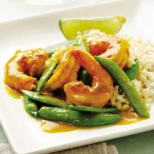 Sugar snap pea & shrimp curry: http://www.eatingwell.com/recipes/sugar_snap_pea_shrimp_curry.html