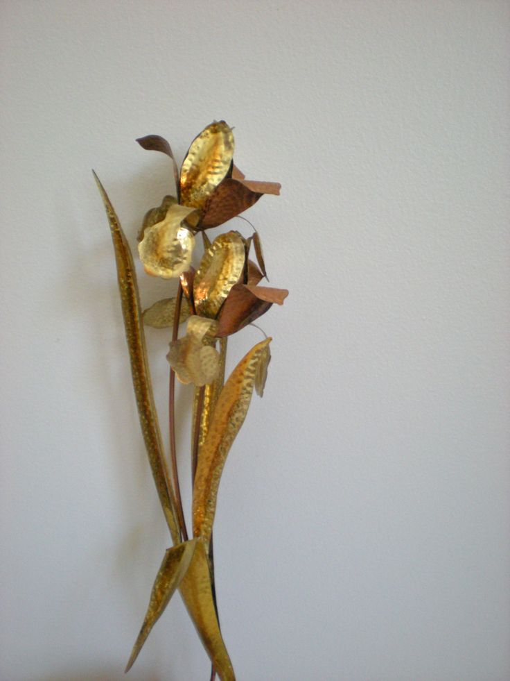 Vintage Metal Wall Decor Metal Sculpture Flowers Gold