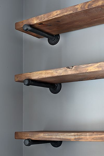 "Restoration Hardware Inspired Shelving -- With instructions. So easy! I love this idea. Space 12"" apart. 10"" deep shelves 10"" pipe, end cap, floor flange screwed into wall"