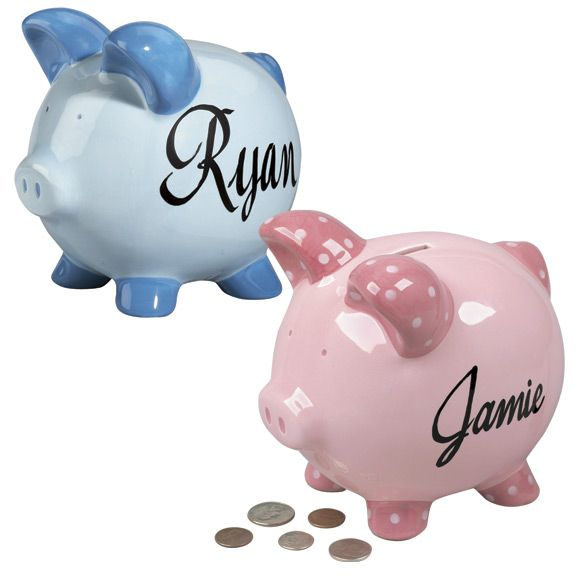 Help show the little ones in your life the value of money. Our traditional Piggy Bank is personalized with the child's name. The best part of this item besides being cute is that you don't need to break it open, so it can stay in the family for years to come.