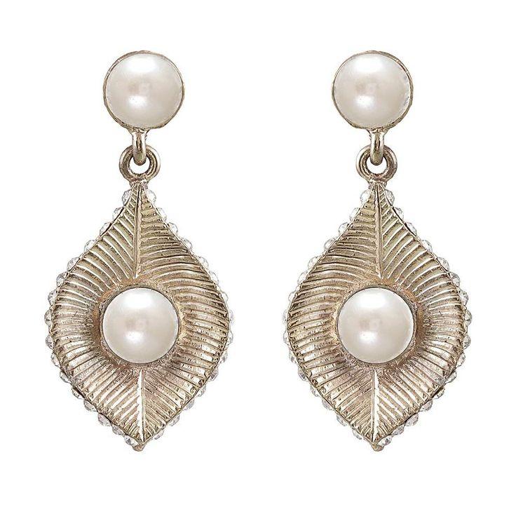 White Pearl Antiqe Gold Finish Dangle Earrings