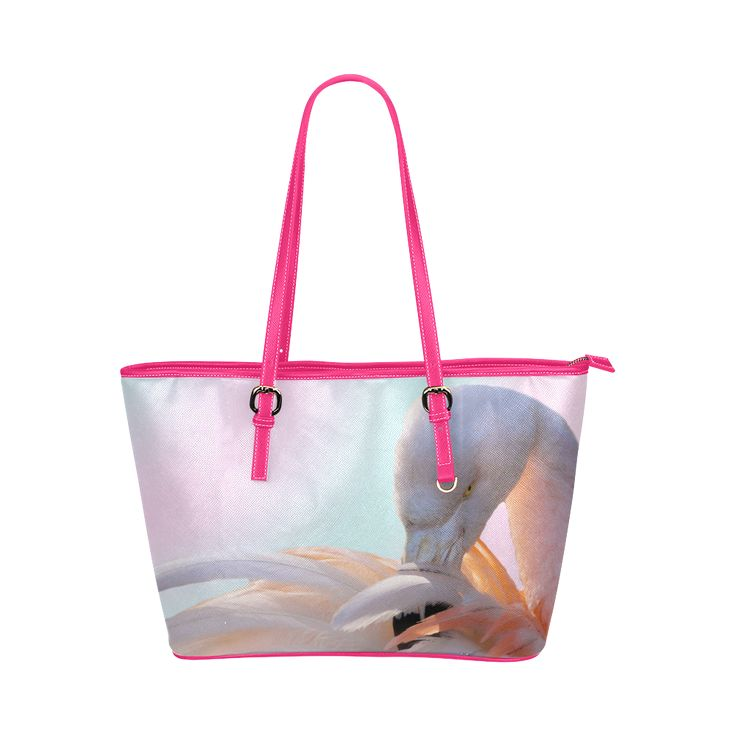 Pink Flamingo Pink Leather Tote Bag/Large. FREE Shipping. #artsadd #bags #flamingos