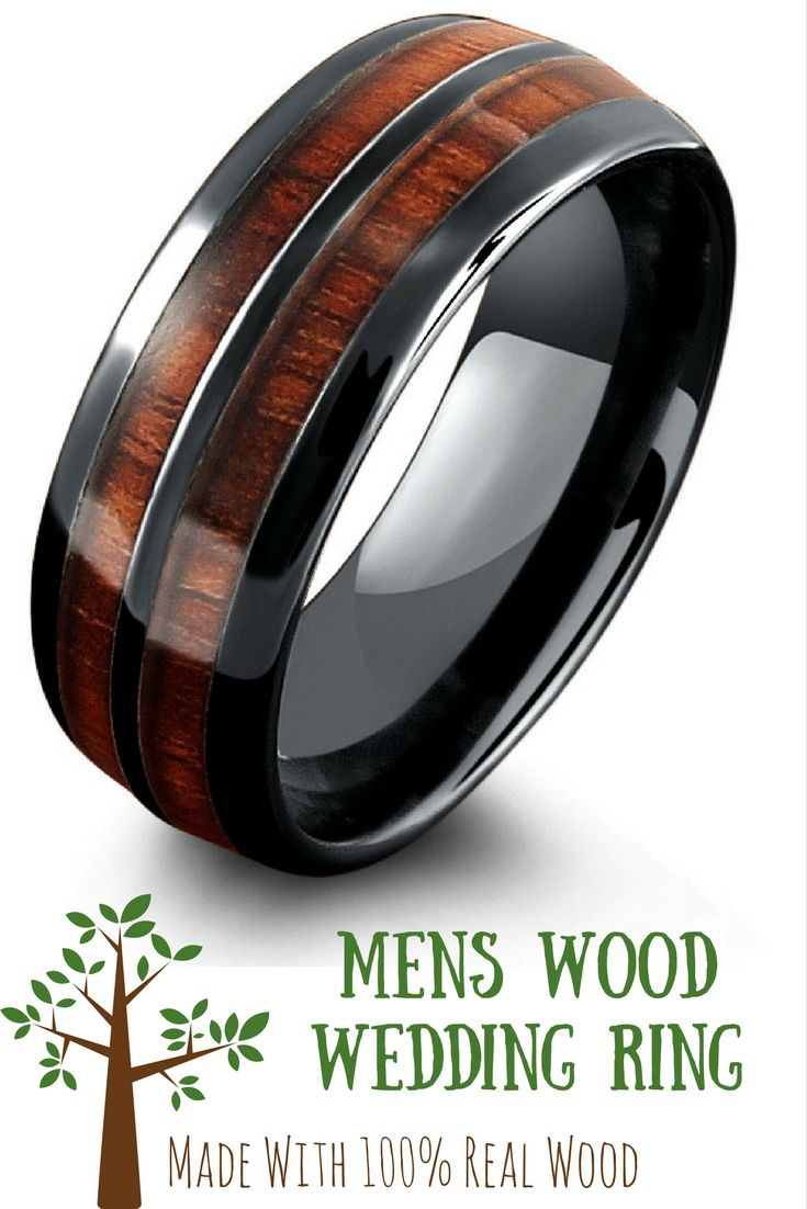 Mens Wood Wedding Band Crafted Out Of The Most Durable Material High Tech  Ceramic This