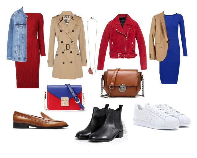 Fall outfit: red/blue jersey dress with loafers, white sneakers, black chelsea boots