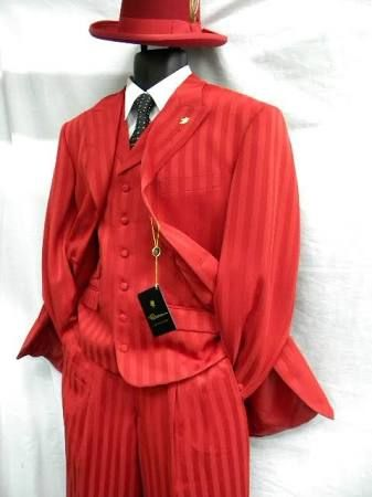 Falcone Mens Red Mat Vested Fashion Suit Os Red Is The Color That Gets You Noticed