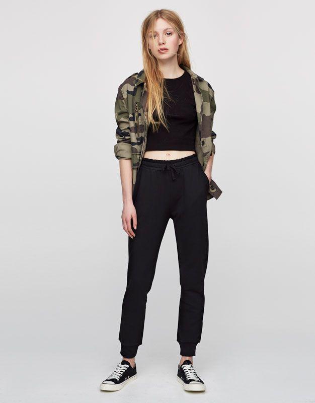 Pull&Bear - kadın - giyim - pantolonlar - jogging pantolonu - siyah - 05681314-V2017