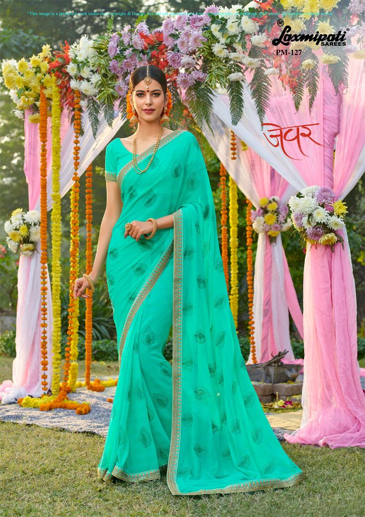 Buy this Exclusive Royal Sea Green #Chiffon #Embroidery Diamonds Work Saree with Sea Green Bhagalpuri Silk Blouse along with Zari Embroidery Lace border from #Laxmipati_Sarees. #Catalogue-#Zever #Designnumber- Zever 127 #Price -₹ 3083.00  #Colorfulsarees #Cashondelivery #Orderonline #Freedelivery #Freeshipping #Freehomedelivery #Manufacturer #Retailer #Ecommerce #Onlineservices #Festival #Worldwidedelivery #Shopnow #Happyshopping #India #Zever0317