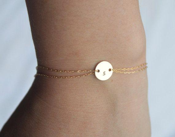 Monogram bracelet  - 14k gold fill, personalized bracelet, initial bracelet, gold initial charm, delicate, tiny, simple bracelet
