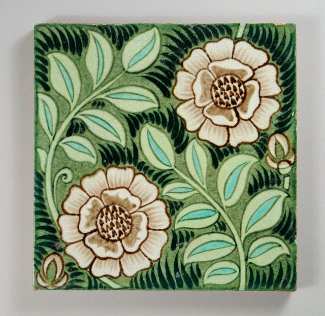 William De Morgan tile with flowers and foliage by robmcrorie, via Flickr