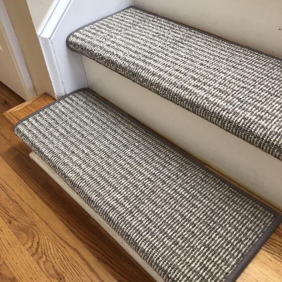 Rustic Charm Titanium Heather 100 Wool Padded True Bullnose | Rustic Carpet Stair Treads | Wood | Mat | Non Slip | Wool | Overstock