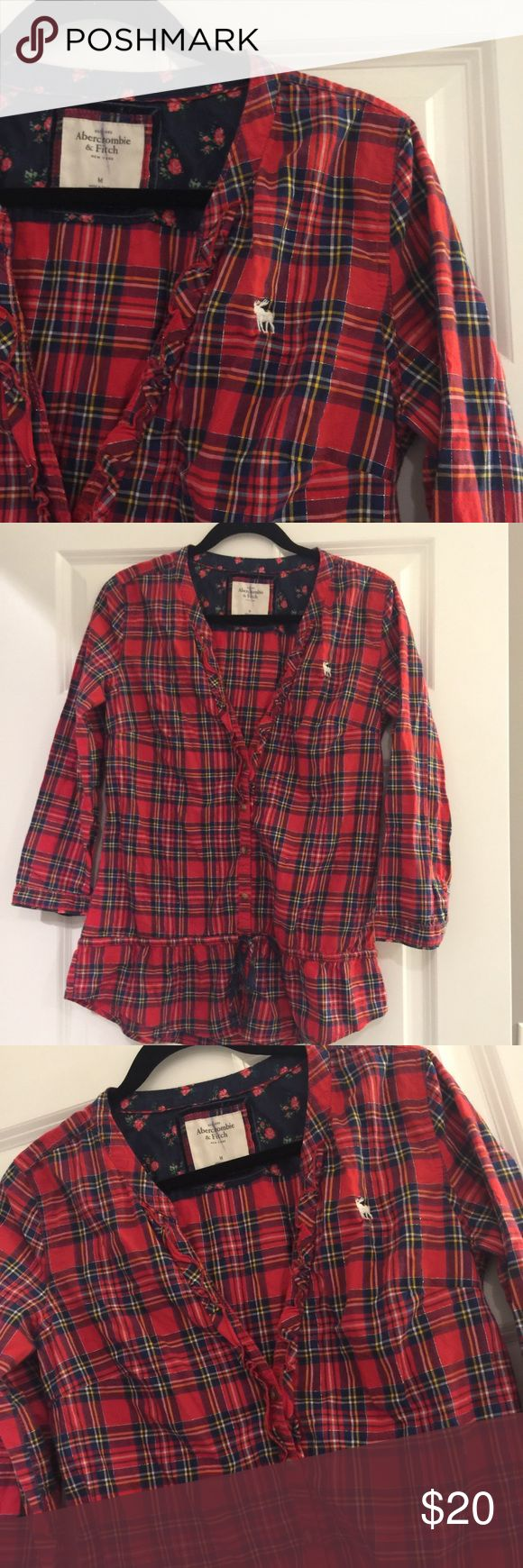 Abercrombie and Fitch Red Plaid Button Up Top. Has a tie around waist for a cute girly look on a plaid shit! Only thing wrong with shirt is it have a marker line going through tag. Won't bleed has been washed. Smoke free home. True to size. No trades. Abercrombie & Fitch Tops Button Down Shirts