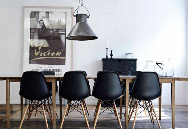 oak dining table with black eames chairs