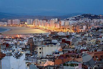 Morocco, Tangier Tetouan Region, Tangier, Medina and Beach seen from the Kasbah