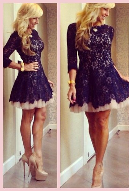 2015 New Arrival Cocktail Dresses Jewel Black Full Lace A