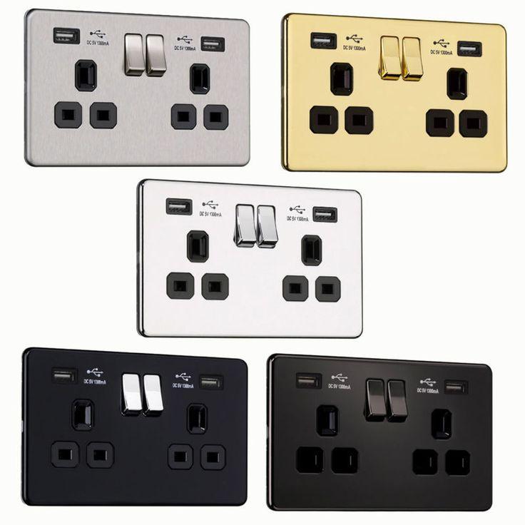 Power socket with USB ports