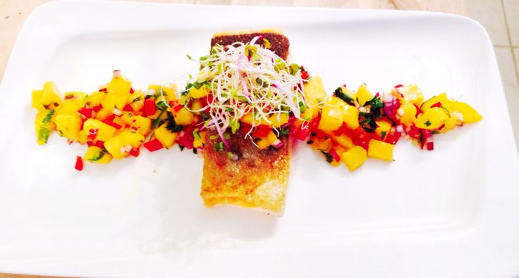 Pan seared trout with a mango,coriander and red pepper salsa