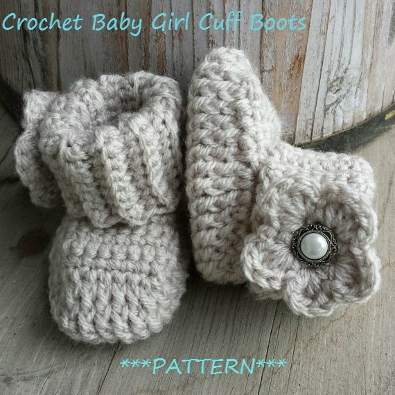 Crochet baby girl boots PATTERN cuff boot with by MalindasDesigns, $5.50