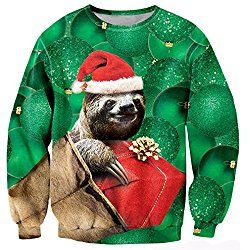 RAISEVERN Women Girl Ugly Christmas Cute Sloth Printed Pullover Sweater Jumper