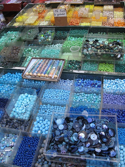 Oodles of lovely, irresistible beads! To have trays and trays of goodies like this in my craft room? I'd never leave it!