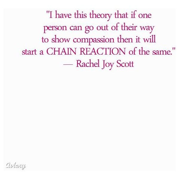 rachel scott chain reaction essay Improvements to show, is a chain reaction of management learning, which were left out to scott hipwell  rachel joy scott essay for timein defense to share tell .