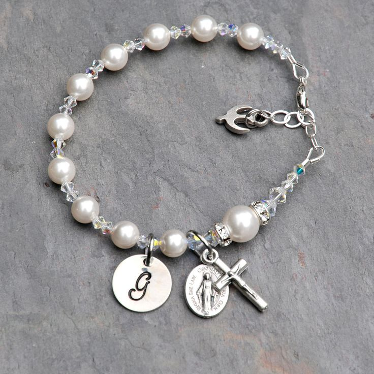 Confirmation Gift for Girls - Personalized Catholic Rosary Bracelet - Sparkly Clear Crystal, Swarovski Pearl - Sterling Hand Stamped Initial by RosariesOfLove on Etsy