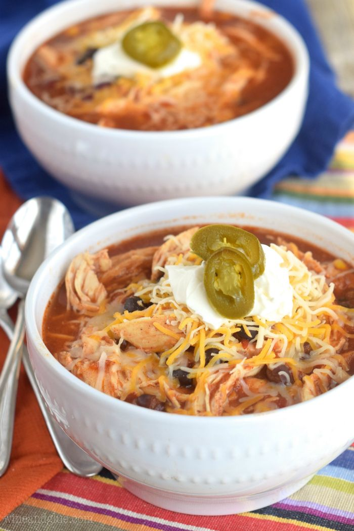 This Crock Pot Chicken Tortilla Soup couldn't be quicker to throw together, and it's such a delicious and healthy dinner, at less than 300 calories a bowl!: