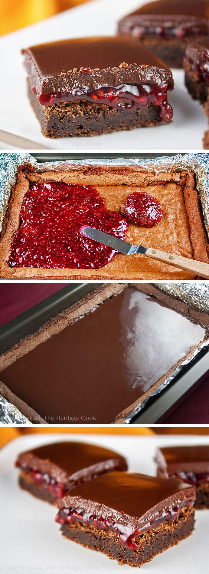 Raspberry Chocolate Brownies; 2015 Jane Bonacci, The Heritage Cook