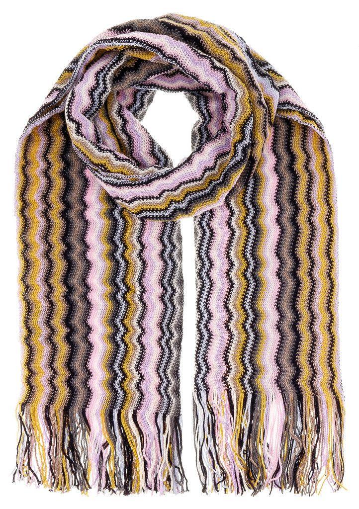 Missoni D4909 Wool Blend Crochet Knit Wave Scarf