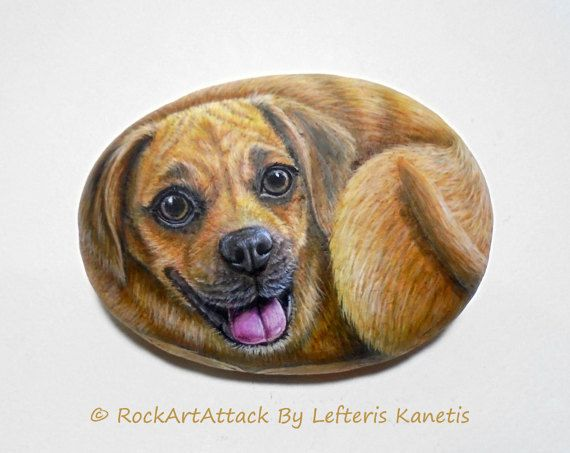 Cute  Puppy Dog Hand Painted On Stone ! Is Painted with high quality Acrylic paints and finished with Glossy varnish protection.