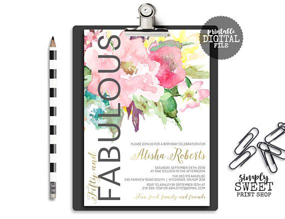 Adult Thirty Forty Fifty Sixty Any Age Tea Flowers Floral Gold Black White Watercolor Fabulous Surprise Birthday Party Invitation Invite