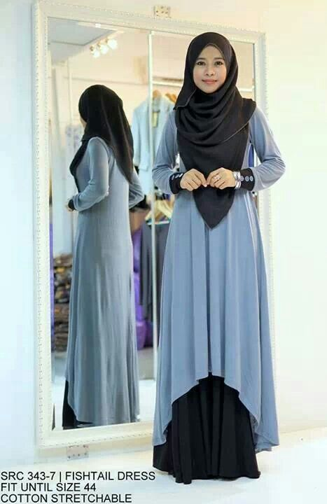 Blue and black high low abaya