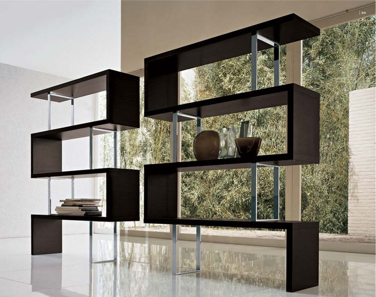 contemporary bookshelves furniture and bookcases ideas:knockout furniture modern free stand dark brown wooden twin contrary zig zag bookcase design ideas multifunctional bookcase designs for cool storage s