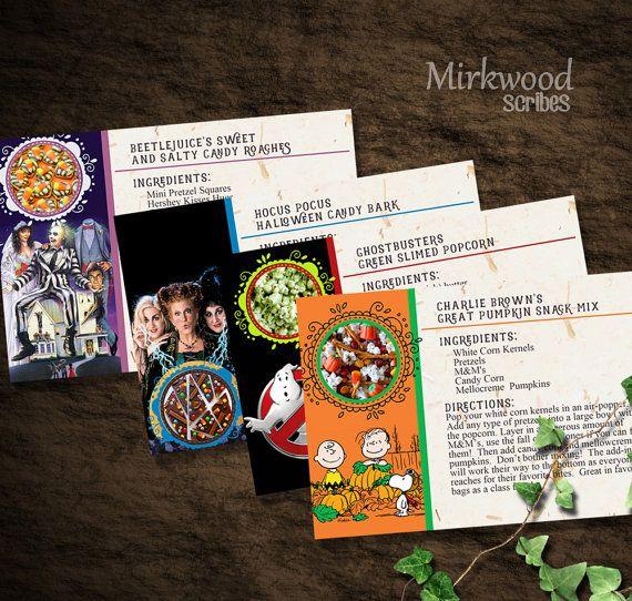 Halloween Movie Snacks Recipe Cards |  Classic Halloween Movie Snack Ideas |  Great Pumpkin, Hocus Pocus, Ghostbusters, and Beetlejuice