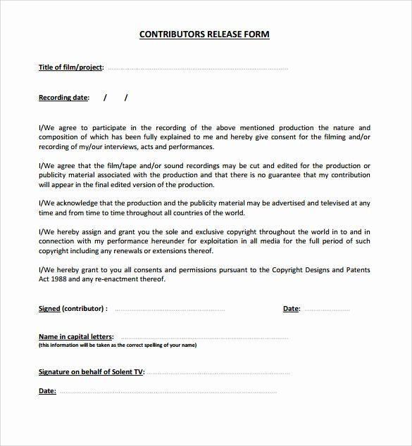 Standard Media Release Form Template Elegant 10 Release Form Templates To Download For Free Flow Chart Template Release Form