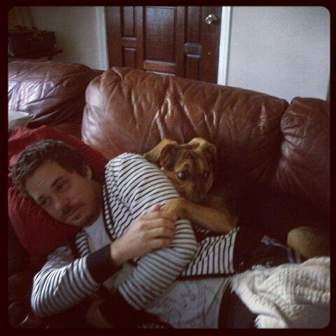 Michael Raymond James and a most human like doggie.