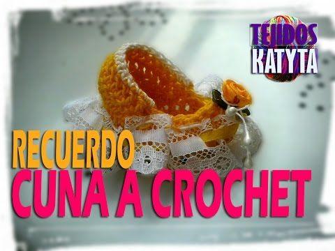 Recuerdo Bautizo o Baby Shower - Cuna De Bebe a Crochet - YouTube