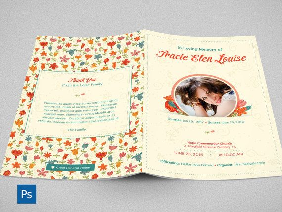 Floral Glory Funeral Program Photoshop Template by Godserv on Etsy