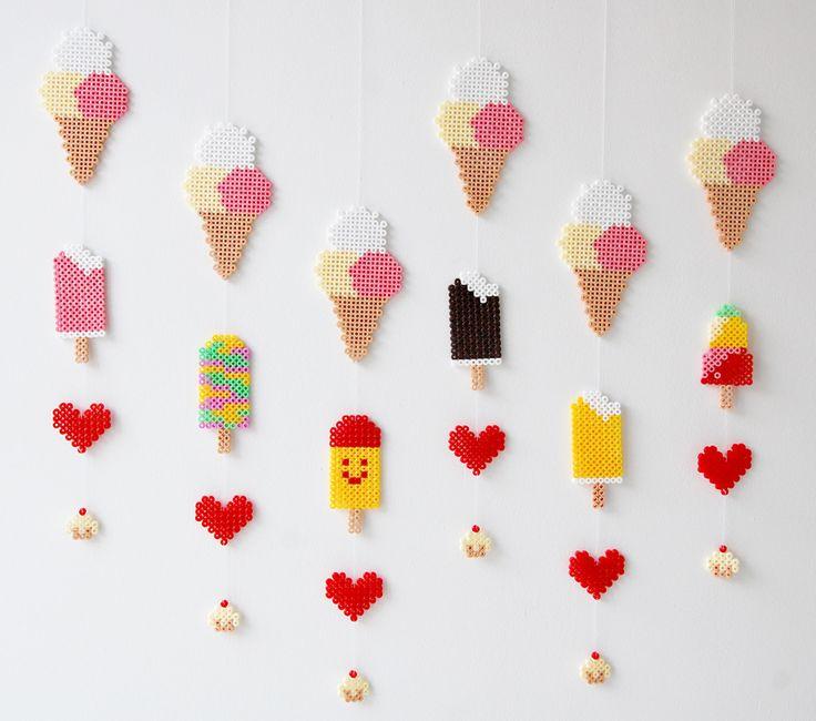 Hama perler icecream invitation mobile