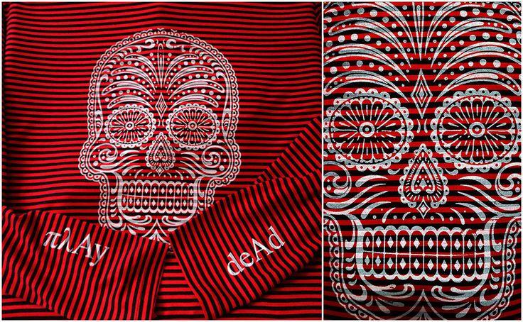 Play Dead long sleeve striped tee #fashion #style #gifts #skull #skullart #stripes #stripedshirt #tshirt #tee #rock #díademuertos #muertos #design #mensfashion #mexico #play #dead