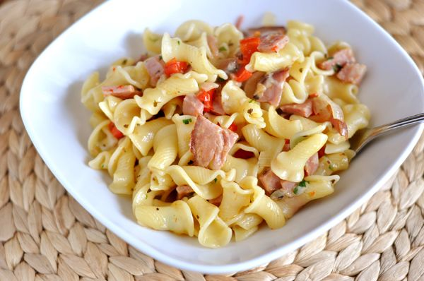 Ham and Pasta Skillet, a delicious way to use up some leftover ham. One of our all time favorite pasta dishes!