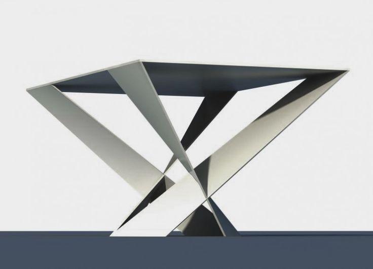 Tavolino in lamina di alluminio, termoverniciato a polvere. Misure     H. cm 40     Largh. cm 50     Lungh. cm 81. Ispirato all'antica arte giapponese di piegare la carta, Origami utilizza il metallo per realizzare una forma che evoca la leggerezza di un foglio piegato.