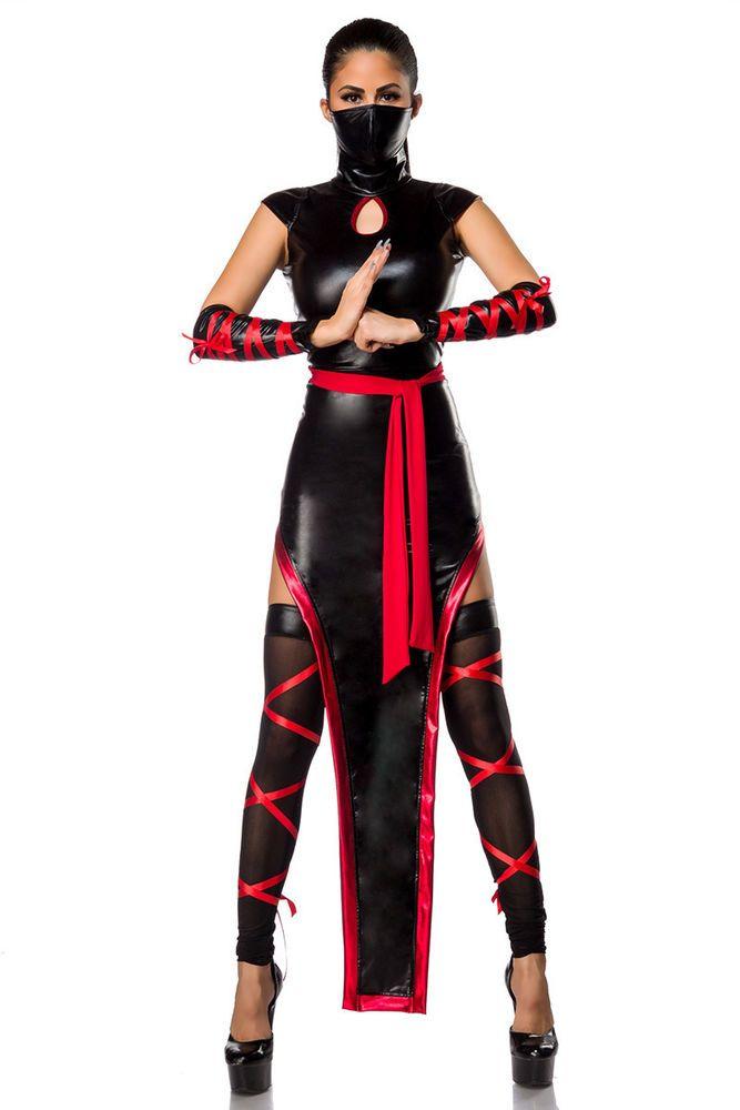 Ninja Kostüm Fasching Sexy Halloween Samurai Karneval Damen Verkleidung Kung Fu