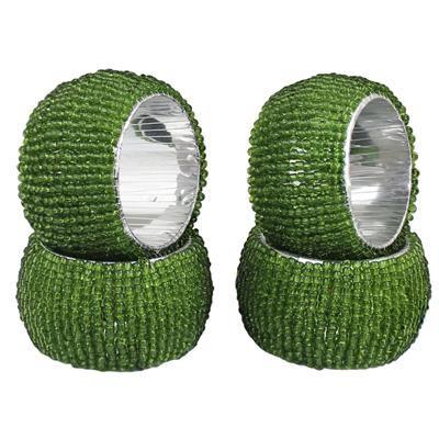 Buy DakshCraft Green Beaded Napkin Rings - Set of 4, Table Accessories Item