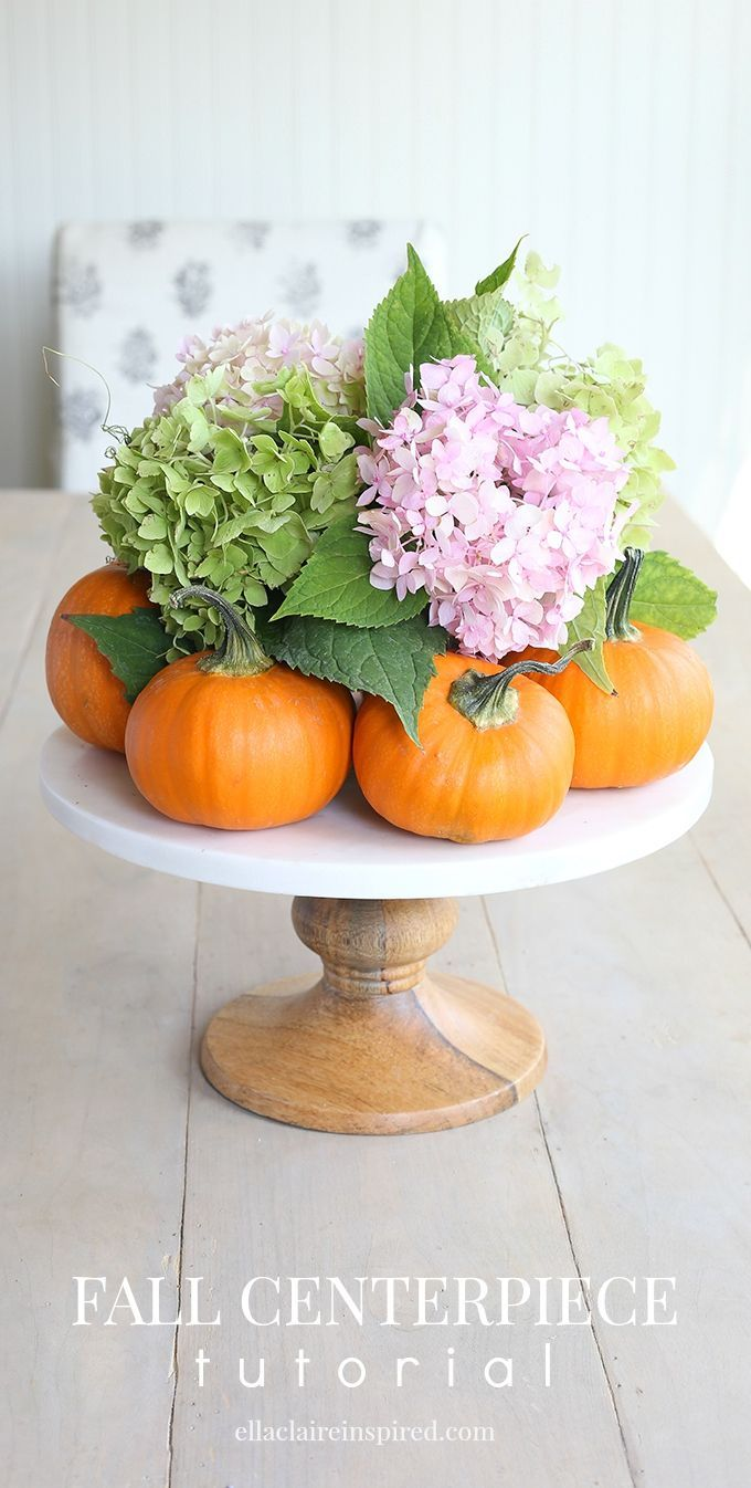 Easy diy fall centerpiece beautiful pumpkins and flower for Simple pumpkin centerpieces