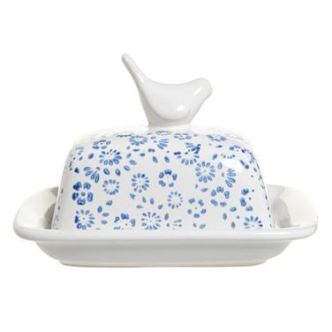 blueCarolyn Donnelly Eclectic Bird Butter Dish