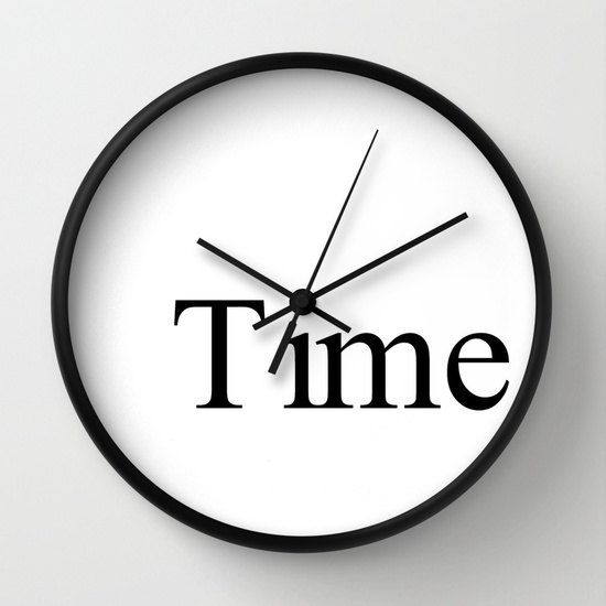 Time clock typographic clock with written by LazyLittleLuckyGirl