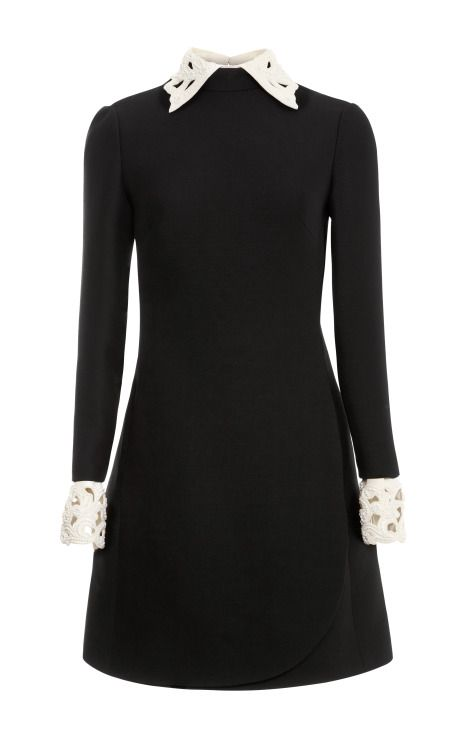 Wool Blend Dress with Embroidered Collar and Cuff by Valentino Now Available on Moda Operandi
