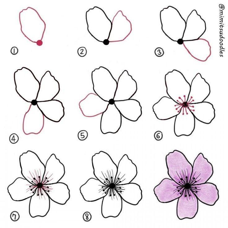 Desing Flores Faciles De Dibujar Como Dibujar Flores Faciles Bocetos De Flores