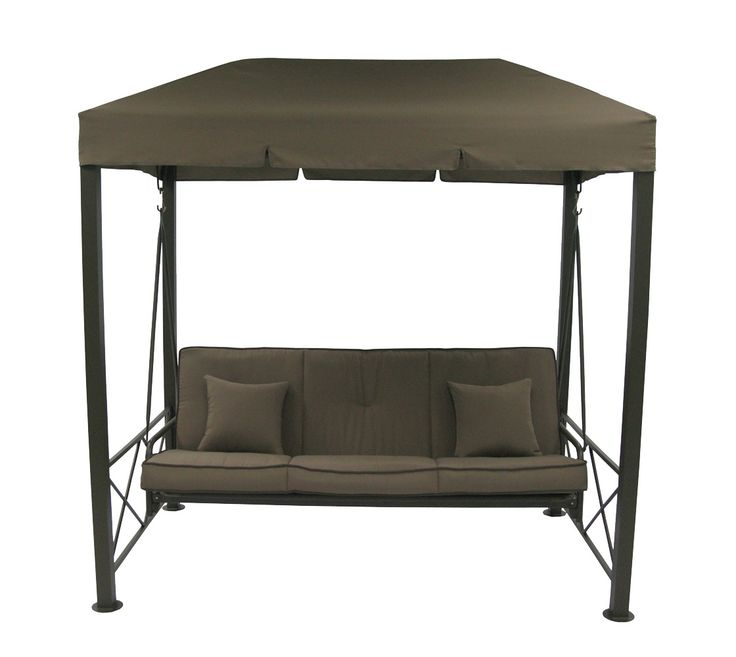 3 Person Patio Swing With Gazebo Top Cover - Brown