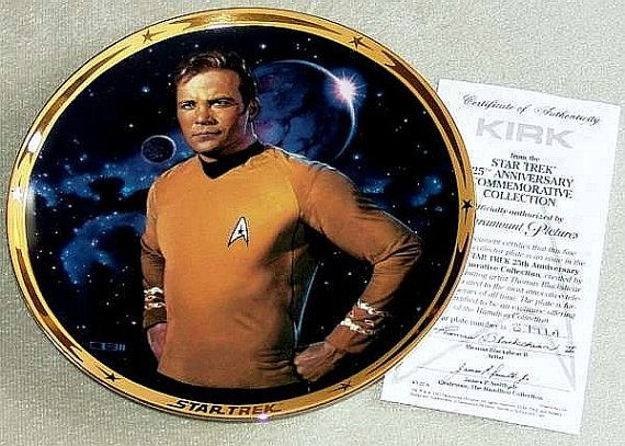 Sold Vintage 1991 Star Trek TOS 25th Anniversary Commemorative Collection Captain Kirk Limited Edition Hamilton Plate Collection & COA (ref 4057)